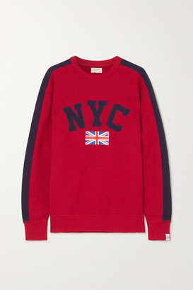 Rag & Bone Striped Appliqued Printed Cotton-jersey Sweatshirt - Red