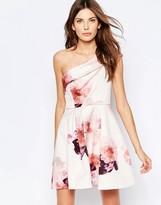 Keepsake One Shoulder Floral Print Skater Dress
