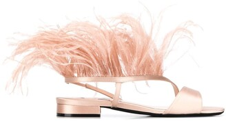 No.21 Faux-Feather Detailed Sandals
