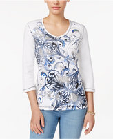 Karen Scott Printed Three-Quarter-Sleeve Top, Only at Macy's