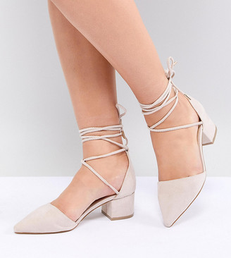 Raid Wide Fit RAID Wide Fit Lucky Ankle Tie Mid Block Heeled Shoes-Beige