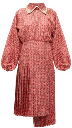 Fendi Gate-print Pleated Silk Midi Dress - Womens - Red Multi