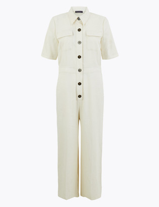 Marks and Spencer Linen Rich Button Front Utility Jumpsuit