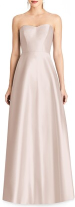 Alfred Sung Strapless Satin A-Line Gown