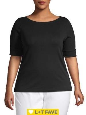 Lauren Ralph Lauren Plus Stretch Cotton Boatneck Top