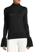 ADAM by Adam Lippes Bell-Sleeve Knit Turtleneck Sweater