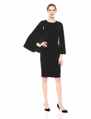 Adrianna Papell Women's Knit Crepe MIDI Cape Dress
