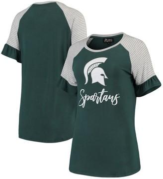 Women's Green Michigan State Spartans Twist It Up Ruffle Sleeve Raglan T-Shirt
