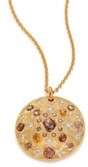 De Beers Talisman Core Diamond& 18K Yellow Gold Pendant Necklace