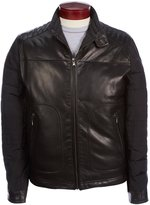 Murano Quilted Mixed Media Leather Puffer Jacket