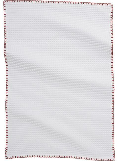Crate & Barrel White Waffle Dishtowel with Red Stitching