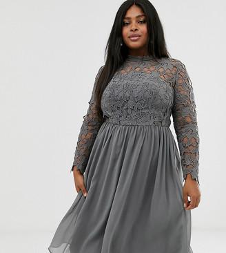 Chi Chi London Plus lace midi dress in charcoal gray