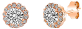 Bliss Rose Gold Halo Stud Earrings With Swarovski® Crystals