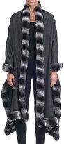Giuliana Teso Cashmere Cape with Rabbit Fur Trim
