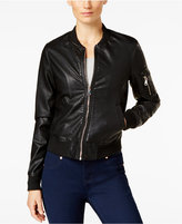 Madden-Girl Faux-Leather Bomber Jacket