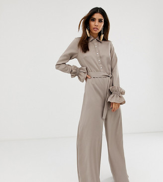 Verona long sleeved jumpsuit in stone