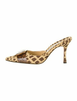 Manolo Blahnik Animal Print Mules Brown