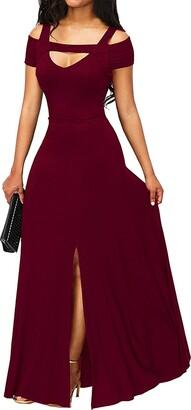 May Story Women Long Prom Party Maxi Dress V-Neck Short Sleeve Off Shoulder Front Slit (Black XL (UK20-22))