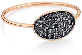 ginette_ny 18k Rose Gold Black Diamond Mini Sequin Ring, Size 7
