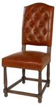 Joseph Allen Dynasty Button Tufted Parsons Dining Chair, Brown Leather