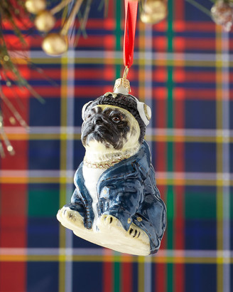 Joy To The World Collectibles Pug Dog in Headphones & Denim Jacket Christmas Ornament