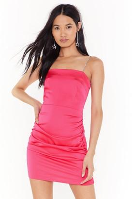 Nasty Gal Womens Jewel World Diamante Satin Mini Dress - Black - 6, Black
