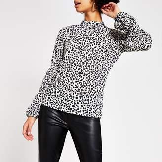 River Island Womens White animal print long sleeve blouse