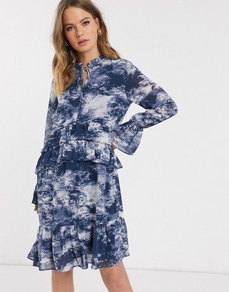 Y.A.S shift dress with drop hem and ruffle trims in blue marble print
