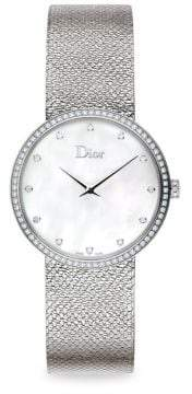Christian Dior La D de Diamond, Mother-Of-Pearl& Stainless Steel Watch