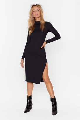 Nasty Gal Womens High Neck Ribbed Midi Dress with Slit at Side - Black