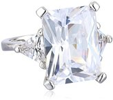 """Kenneth Jay Lane CZ by Classic"""" Clear Emerald Cubic Zirconia with Side Trillion Adjustable Ring, Size 5-7, 8 CTTW"""