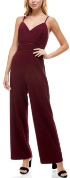 Trixxi Juniors' Ladder-Trim Surplice-Neck Jumpsuit