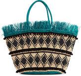 Sensi Studio Green & Natural Frayed Straw Bag