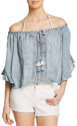 Surf.Gypsy Crochet Off-the-Shoulder Cropped Top Swim Cover-Up