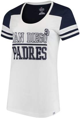Majestic Women's White/Navy San Diego Padres Overwhelming Victory T-Shirt