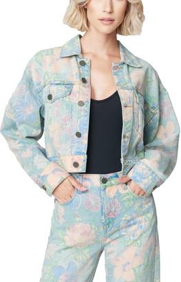 Blank NYC Floral Print Crop Denim Trucker Jacket