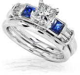 Kobelli Jewelry 1 1/5 CT TW Diamond and Blue Sapphire 14K White Gold Bridal Set