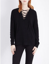 The Kooples Lace-up wool and cashmere-blend jumper