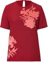 Jonathan Saunders Crepe/Satin Jordan Top in Red/Pink Flower