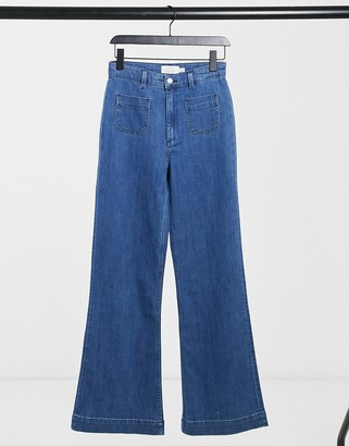 And other stories & organic cotton high waist flare jeans in blue