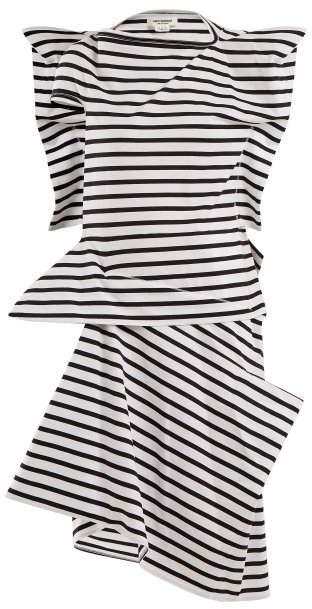 Junya Watanabe Striped Asymmetric Cotton Jersey Dress - Womens - Black Stripe