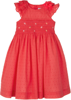Luli & Me Girl's Floral Embroidered Smocked Dress, Size 4-6X