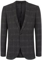 Topman Gray Check Ultra Skinny Fit Suit Jacket