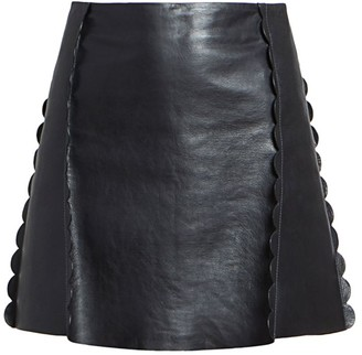Chloé Scalloped Leather Mini Skirt