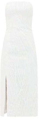 Halpern Sequinned Bustier Midi Dress - Womens - White
