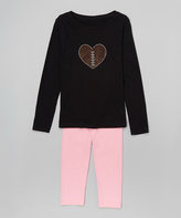 Beary Basics Black & Pink 'Football Heart' Tee & Leggings - Toddler & Girls