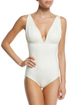 Carmen Marc Valvo Classic Weave Draped One-Piece Swimsuit