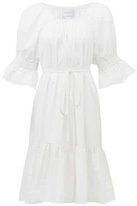 Ephemera - Bell-sleeve Cotton-poplin Dress - Womens - White