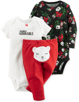 Carter's Baby Girls' 3-Pc. Super Adorable Bodysuits & Bear Pants Set