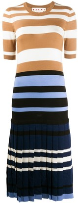 Marni Pleated-Skirt Striped Dress